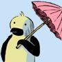 Un pingouin dans le désert. -
